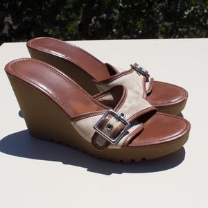 Coach Terry Signature Canvas Wedge Sandals 10